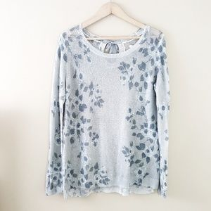 LC - Gorgeous Sheer Gray Floral Sweater Top